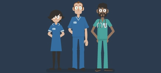 Clinical trial animation image of healthcare professionals